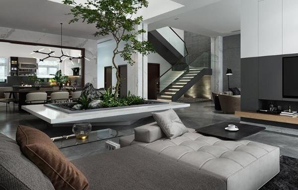 Lựa chọn cây xanh cho phòng khách biệt thự